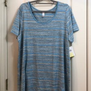 NWT Lularoe grey striped classic t-shirt